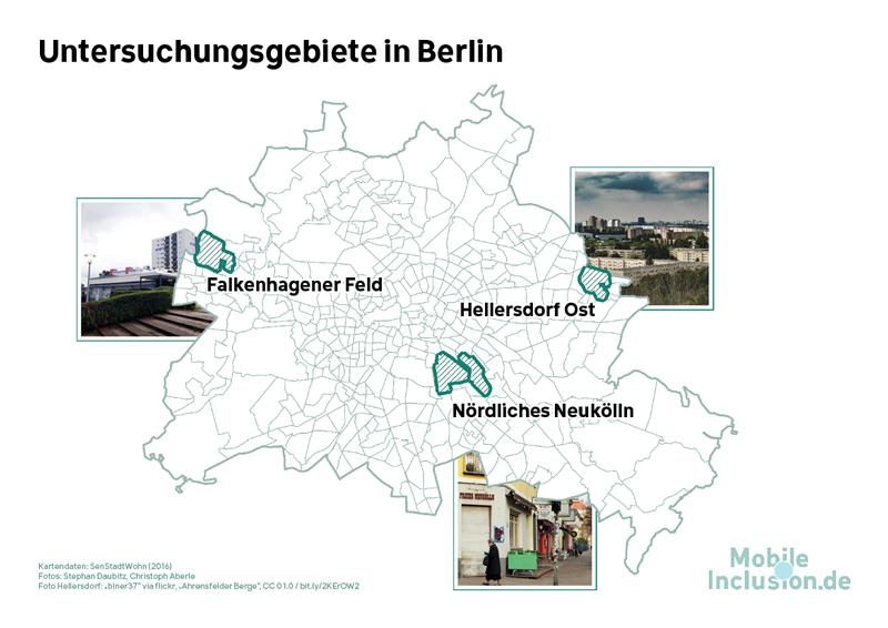 Karte: Drei Untersuchungsgebiete in Berlin / MobileInclusion