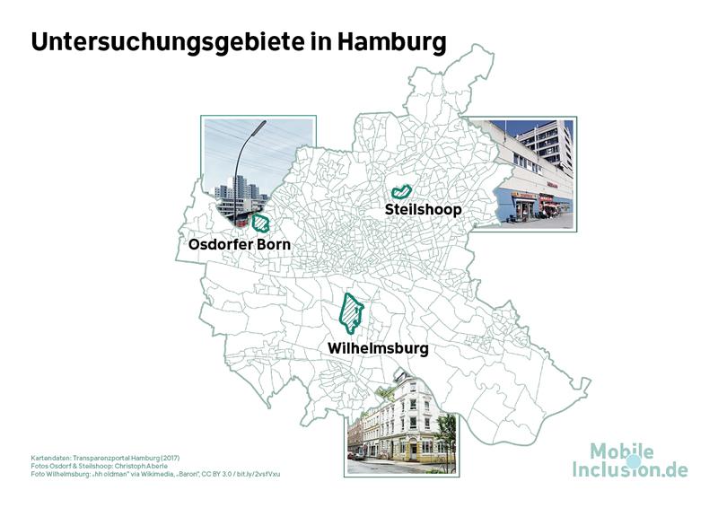 Karte: Drei Untersuchungsgebiete in Hamburg / MobileInclusion