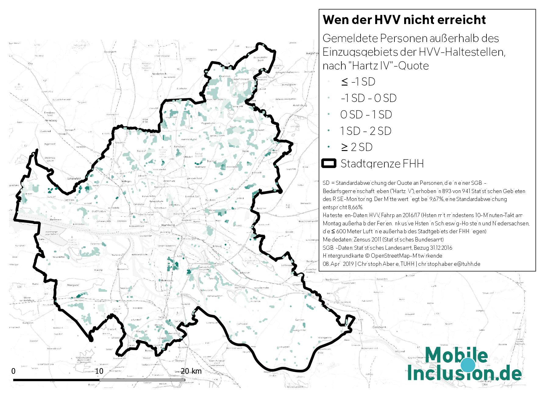 Lücken im Einzugsgebiet des HVV nach HartzIV-Quote