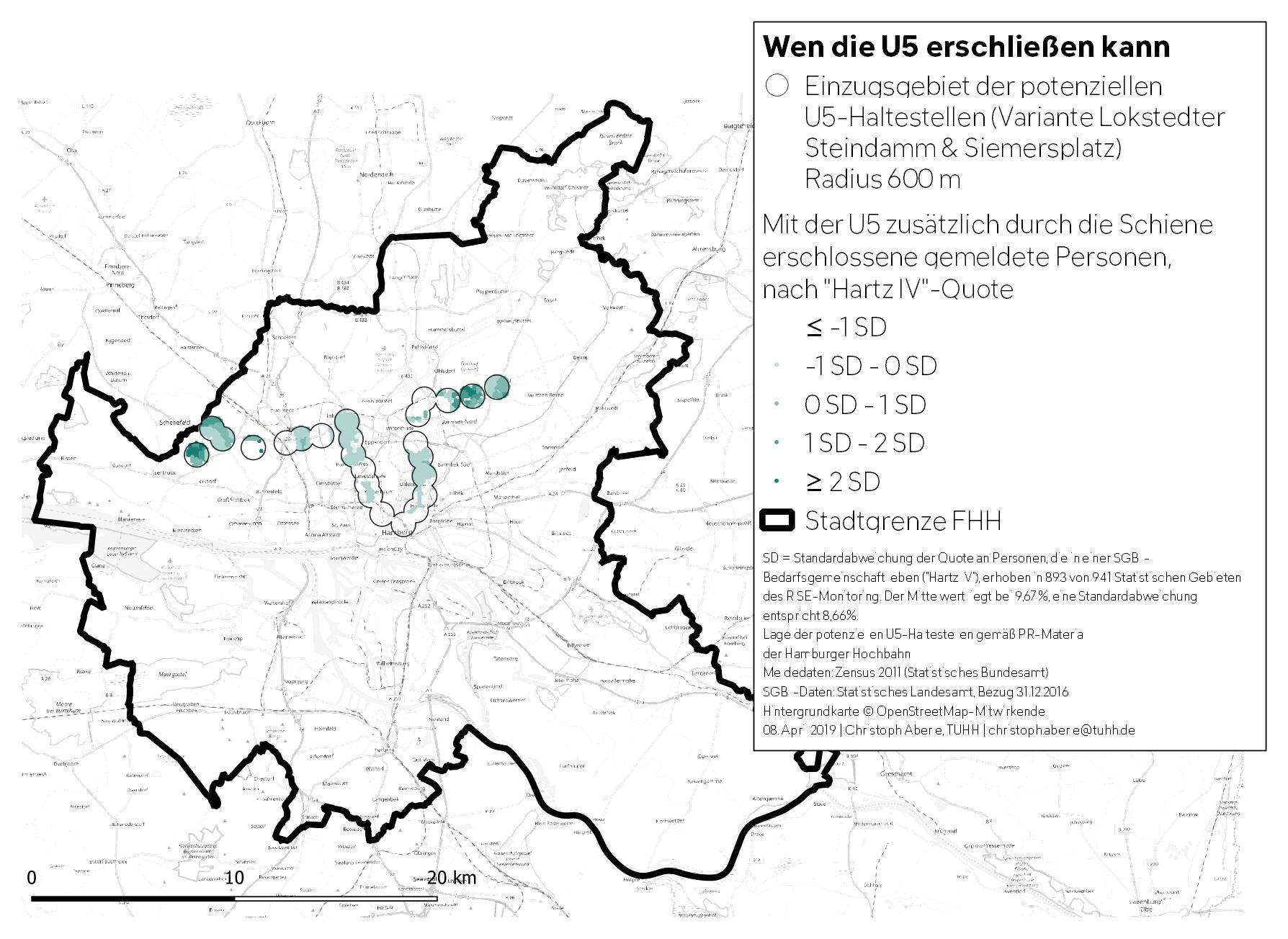So erweitert die U5 das Schieneneinzugsgebiet des HVV in Hamburg, nach HartzIV-Quote.