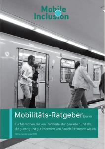 Titelseite des Mobilitätsratgebers Berlin, Menschen steigen aus einer S-Bahn.