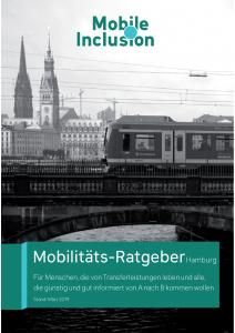 Titelseite des Mobilitätsratgebers Hamburg, Hamburger Bahn auf einer Brücke vor dem Nikolaikirchturm und dem Rathausturm