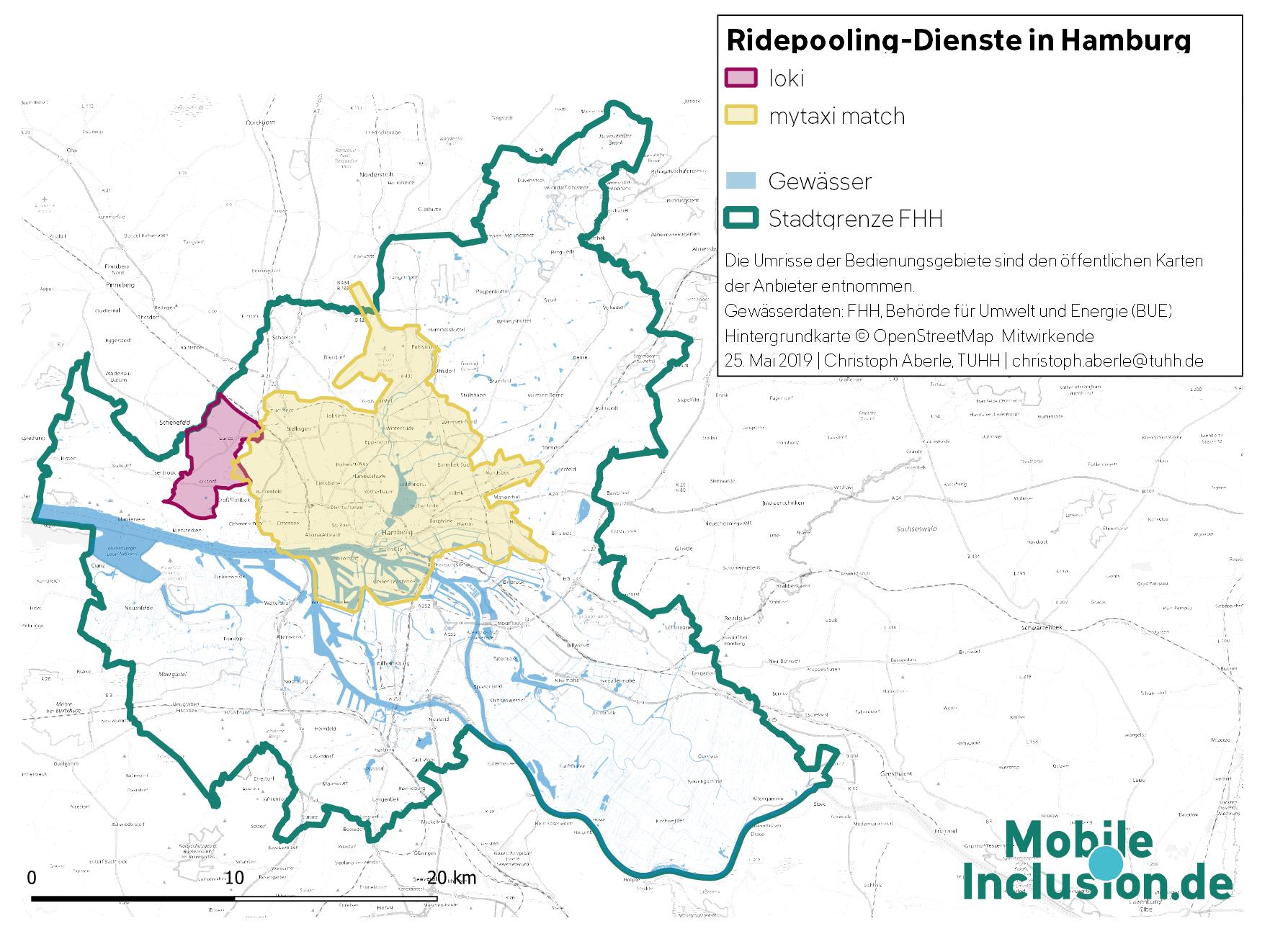 Karte, die Ridepooling-Angebote in Hamburg zeigt: Bedienungsgebiete von Ioki und mytaxi match