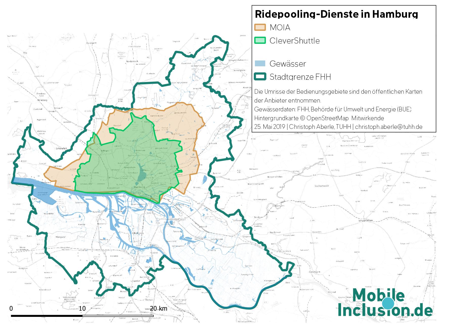 Karte, die Ridepooling-Angebote in Hamburg zeigt: Bedienungsgebiete von MOIA und CleverShuttle