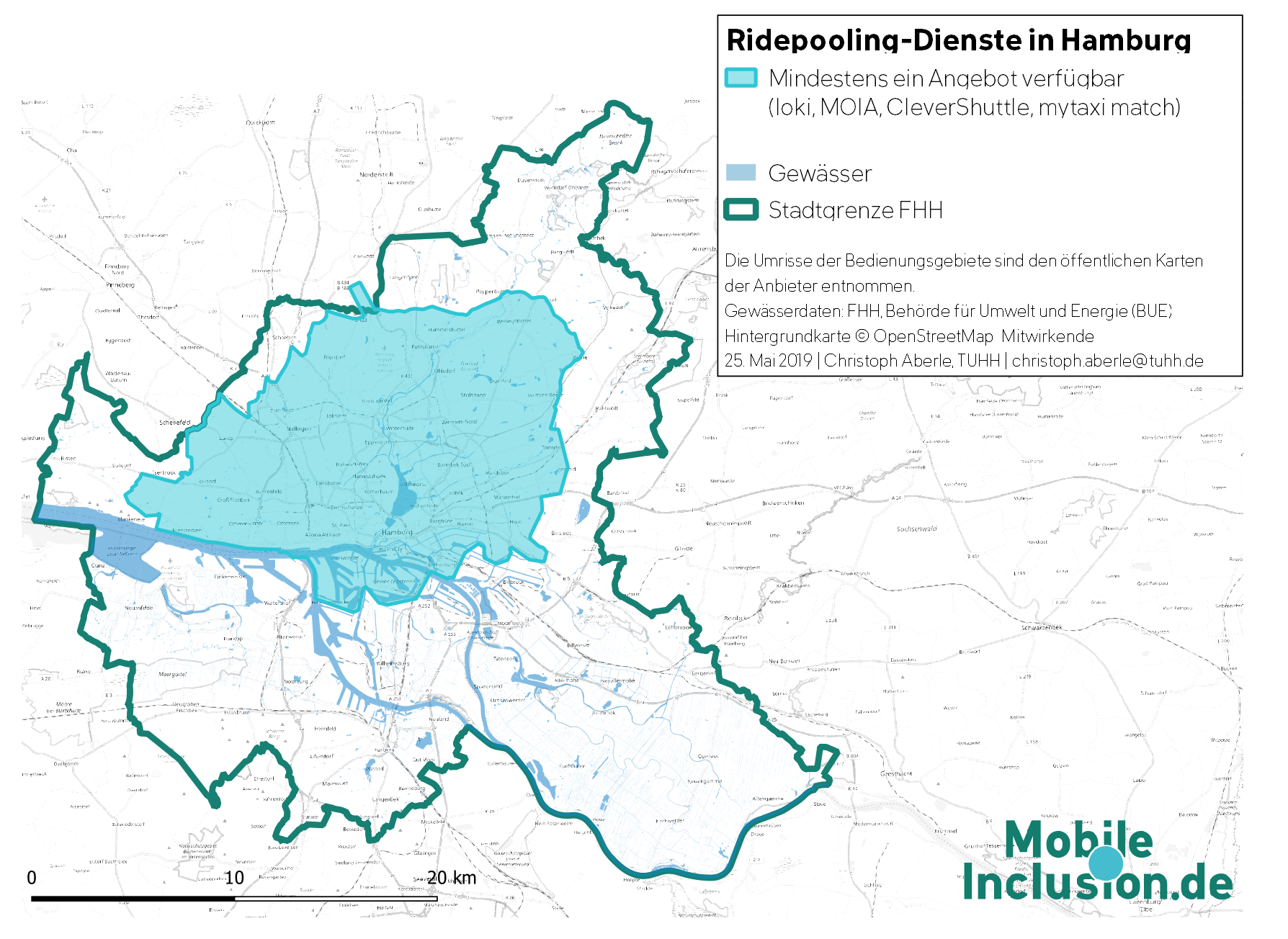Karte, die Ridepooling-Angebote in Hamburg zeigt: Fläche, die von mindestens einem Angebot erschlossen wird