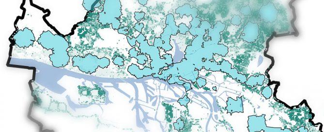 Stilisierte Einzugsgebiete der Schnellbahn-Haltestellen im Stadtgebiet (blau) und der bewohnten Zensuszellen (grün) in Hamburg